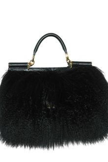 Dolce & Gabbana Miss Sicily Mongolia Fur Top Handle - Lyst