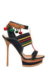 DSquared2 140mm Suede Pom Pom Woven Sandals