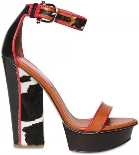 Dsquared2 150mm Leather & Pony Skin Sandals in Brown (multi) - Lyst