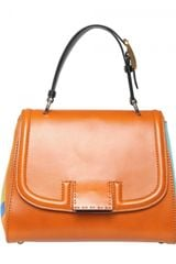 Fendi Silvana Leather & Cotton Top Handle - Lyst