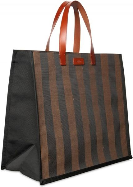 fendi pequin striped shopping tote in brown  purple
