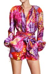 Ferragamo Multi Color Printed Silk Chiffon Shirt - Lyst