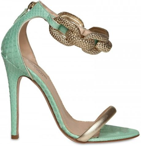 Giambattista Valli 120mm Python & Chain Sandals in Blue (aqua) - Lyst