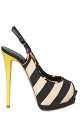 Giuseppe Zanotti 140mm Leather & Canvas Sling Back Pumps - Lyst
