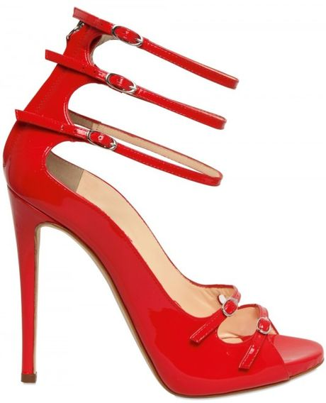 Giuseppe Zanotti 120mm Patent Strappy Sandals in Red - Lyst