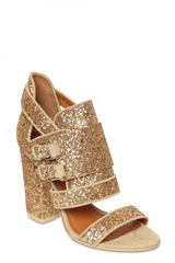 Givenchy 100mm Glitter Buckled Sandals in Gold - Lyst