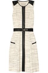 Jason Wu Belted Leather-trimmed Tweed Dress