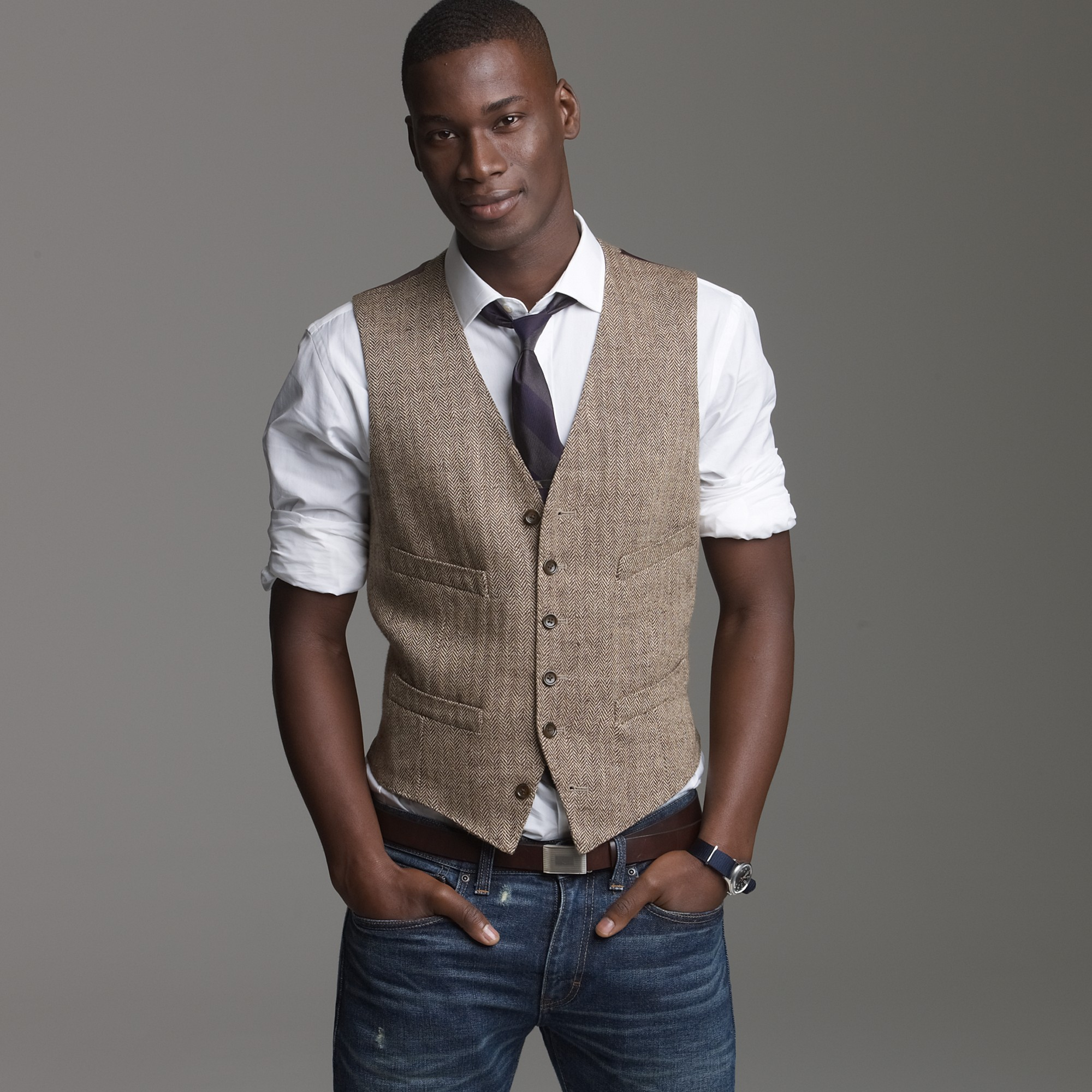 Linen herringbone suit vest in brown for men brown for J crew mens looks