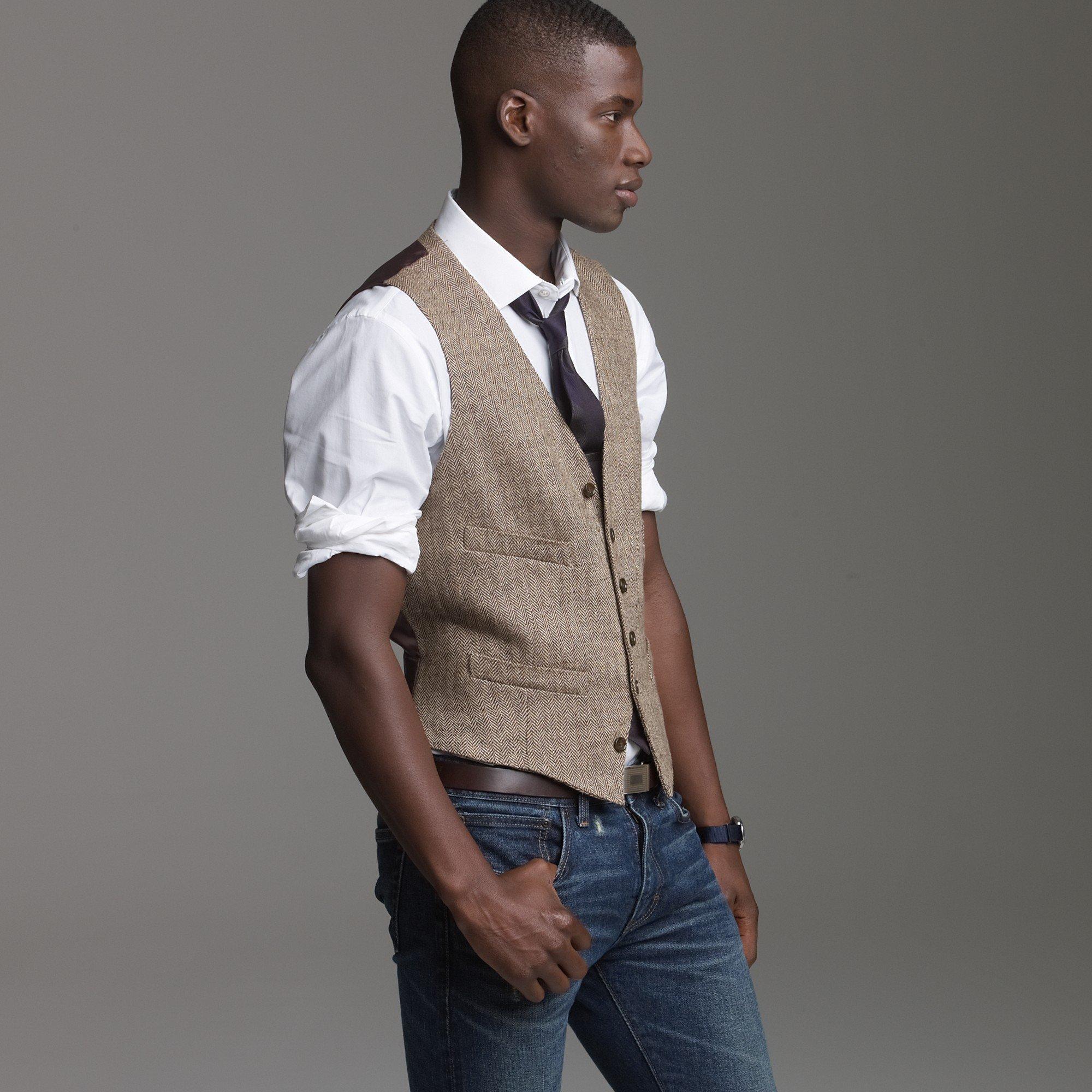 Lyst J Crew Linen Herringbone Suit Vest In Brown For Men