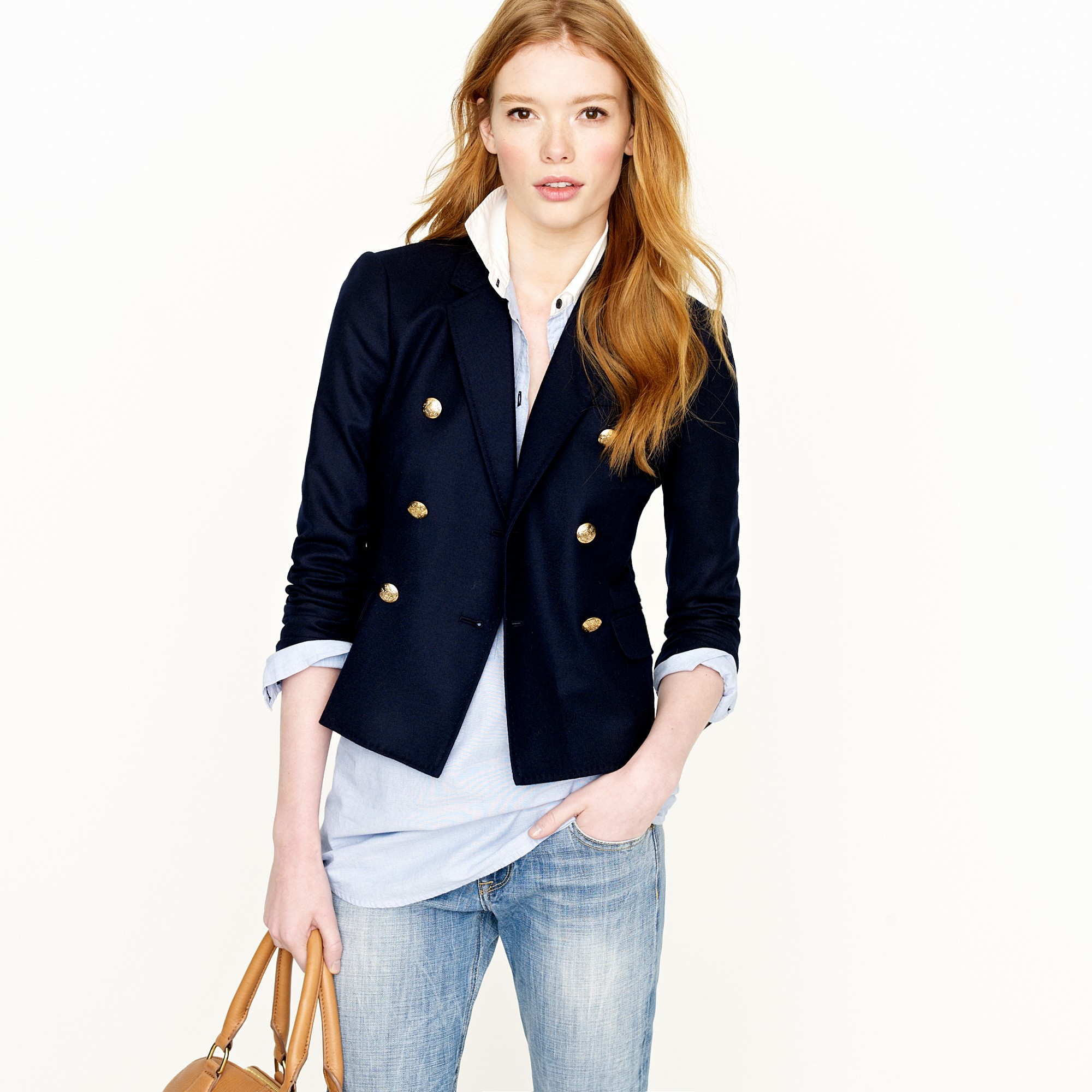 J.crew Double-breasted Ivy Blazer In Blue (navy)