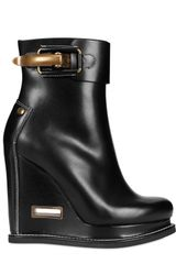 Jil Sander 110mm Calfskin Buckled Low Boot Wedges
