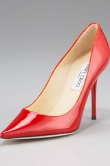 Jimmy Choo Abel Point-toe Patent Pump, Red - Lyst
