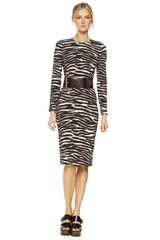 Michael Kors Belted Zebra-Print Dress - Lyst