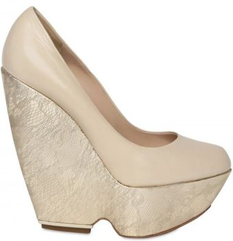 Nicholas Kirkwood Leather and Metallic Leather Wedge Pumps - Lyst