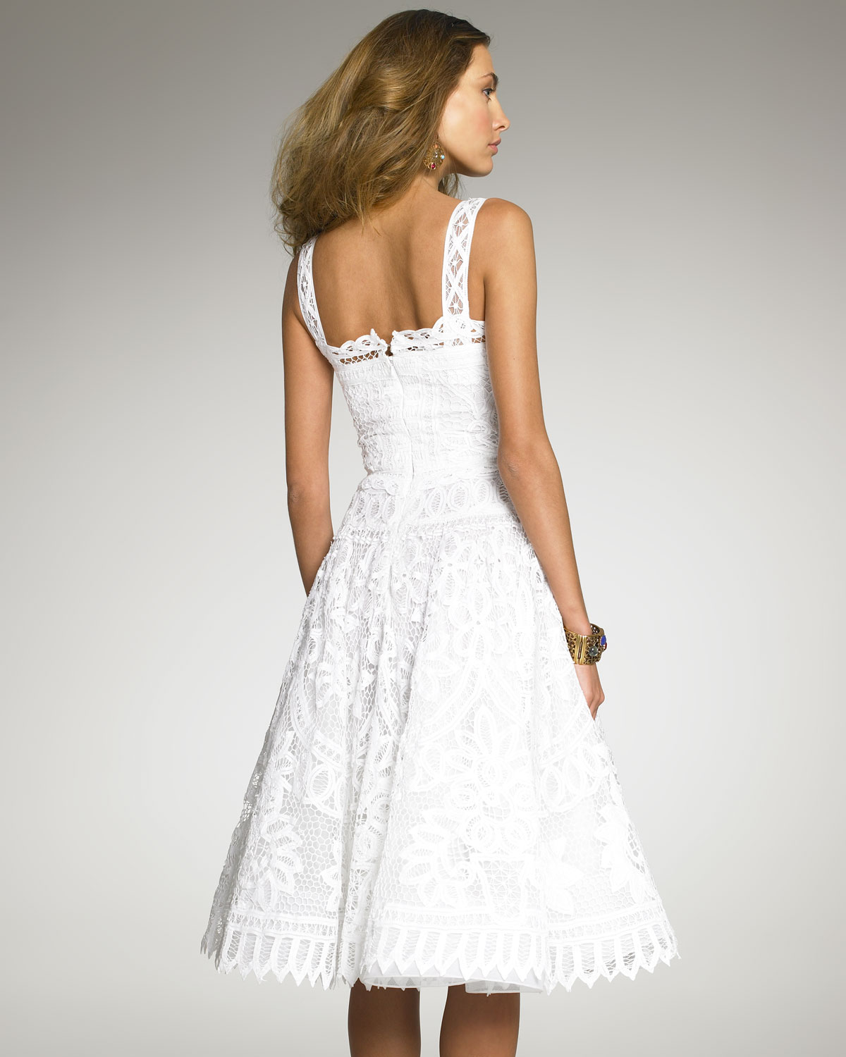 oscar de la renta battenberg lace dress in white lyst