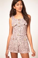 River Island Pink Lacey Playsuit