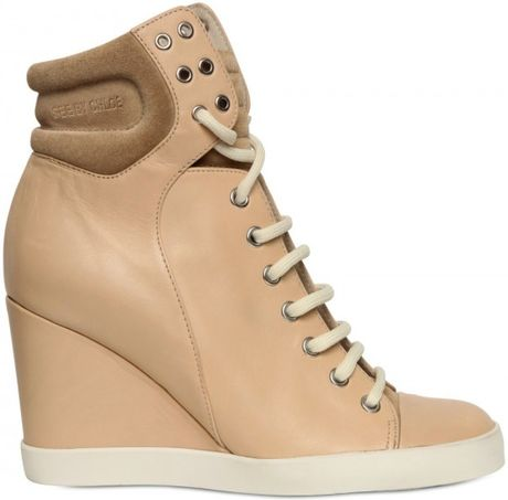 See By Chloé 90mm Leather Sneaker Laced Wedges in Beige - Lyst