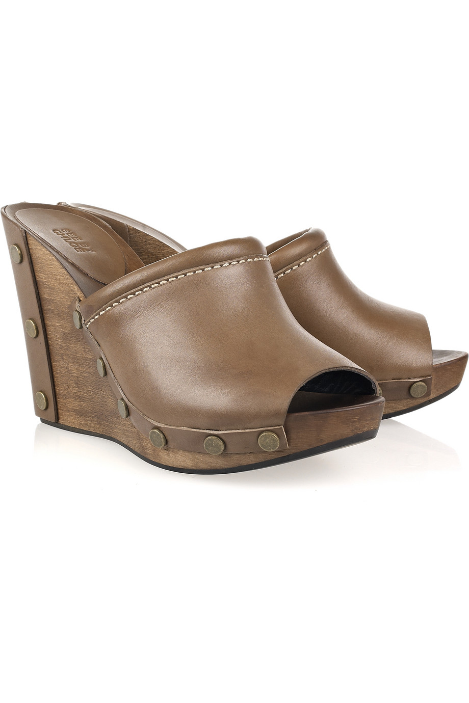 935299ee342 Lyst - See By Chloé Peep-toe Leather and Wooden Wedges in Brown