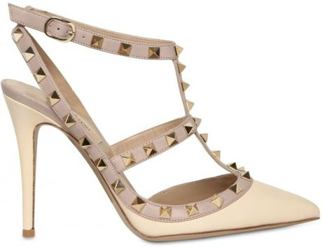 Valentino 100mm Rock Studs Leather Pointy Sandals in Beige (cream) - Lyst