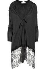 Valentino Lace-trimmed Wool and Silk-blend Cardigan - Lyst
