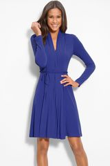 Calvin Klein Pleat Front Jersey Dress - Lyst