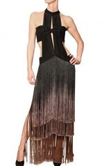 Etro Degradé Silk Fringe On Silk Crepe Dress