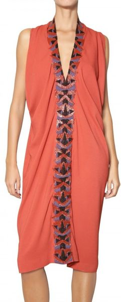 Etro Beaded Viscose Cady Dress in Brown (rust) - Lyst