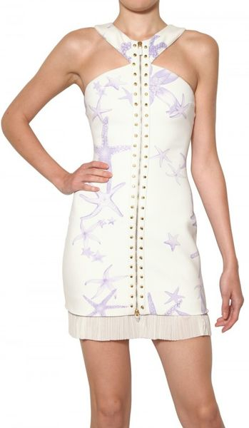 Versace Starfish Studded 3d Jersey Dress in White