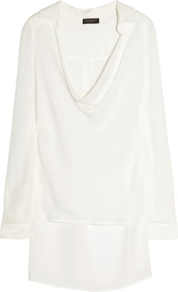 Vionnet Silk-Crepe Top in White (ivory) - Lyst
