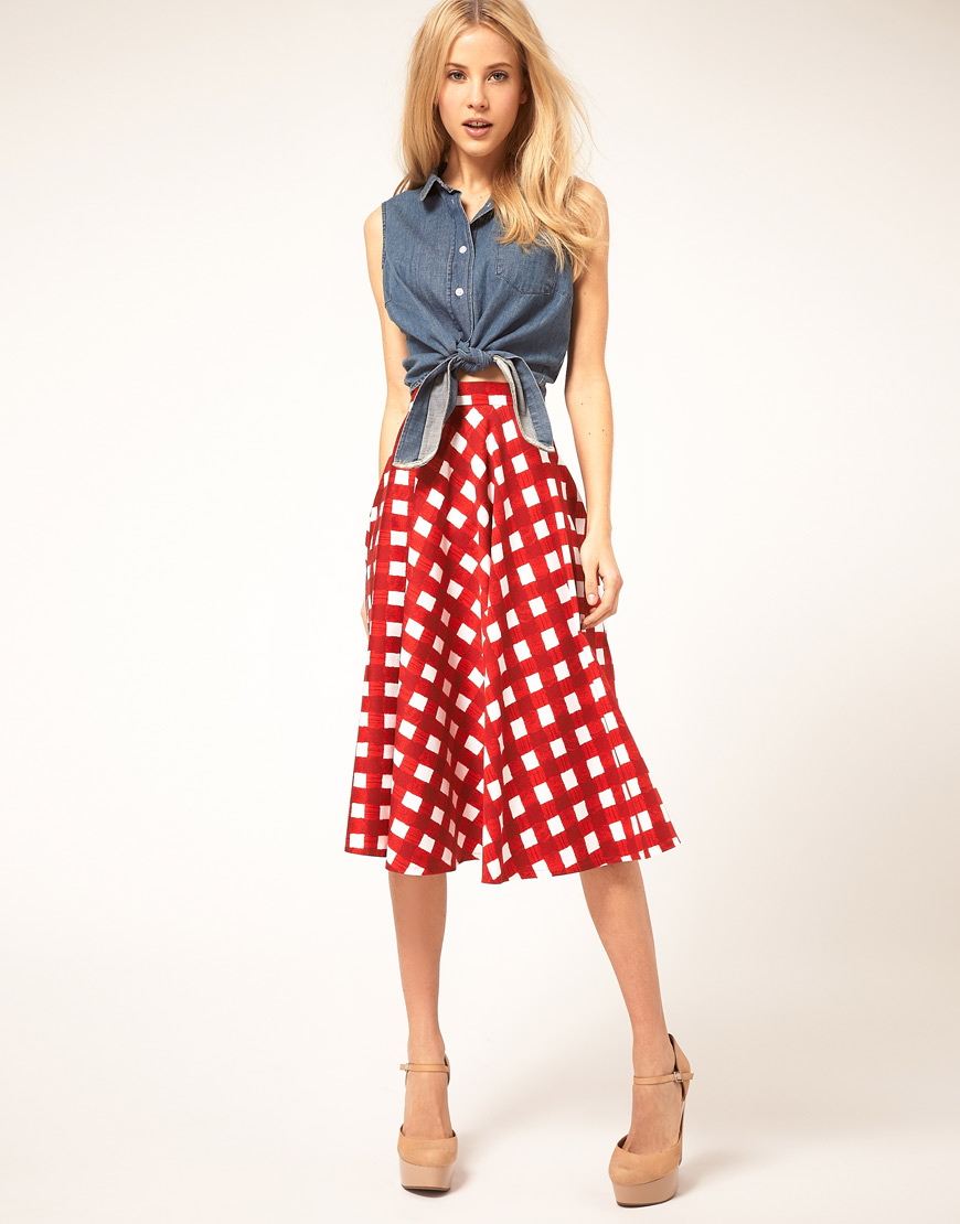 Asos Collection Asos Peplum Top In Sequin In Natural: Asos Collection Asos Check Full Midi Skirt In Red