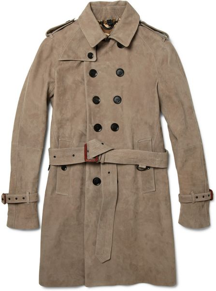 Burberry Prorsum Suede Trench Coat in Brown for Men - Lyst