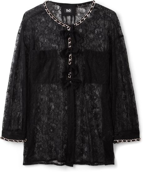 D&g Chain Detail Lace Shirt in Black - Lyst