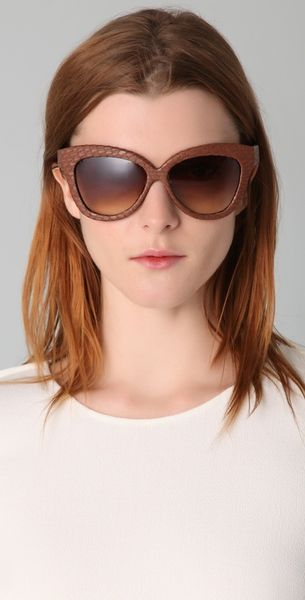 linda farrow luxe snakeskin curved square sunglasses in