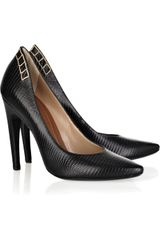 Proenza Schouler LizardEffect Leather Pumps in Black - Lyst