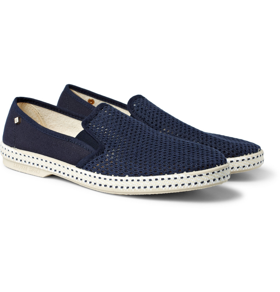 rivieras cotton mesh slipon shoes in blue for lyst