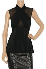 Alexander Wang Sheer-Paneled Draped Cross-Over Top - Lyst