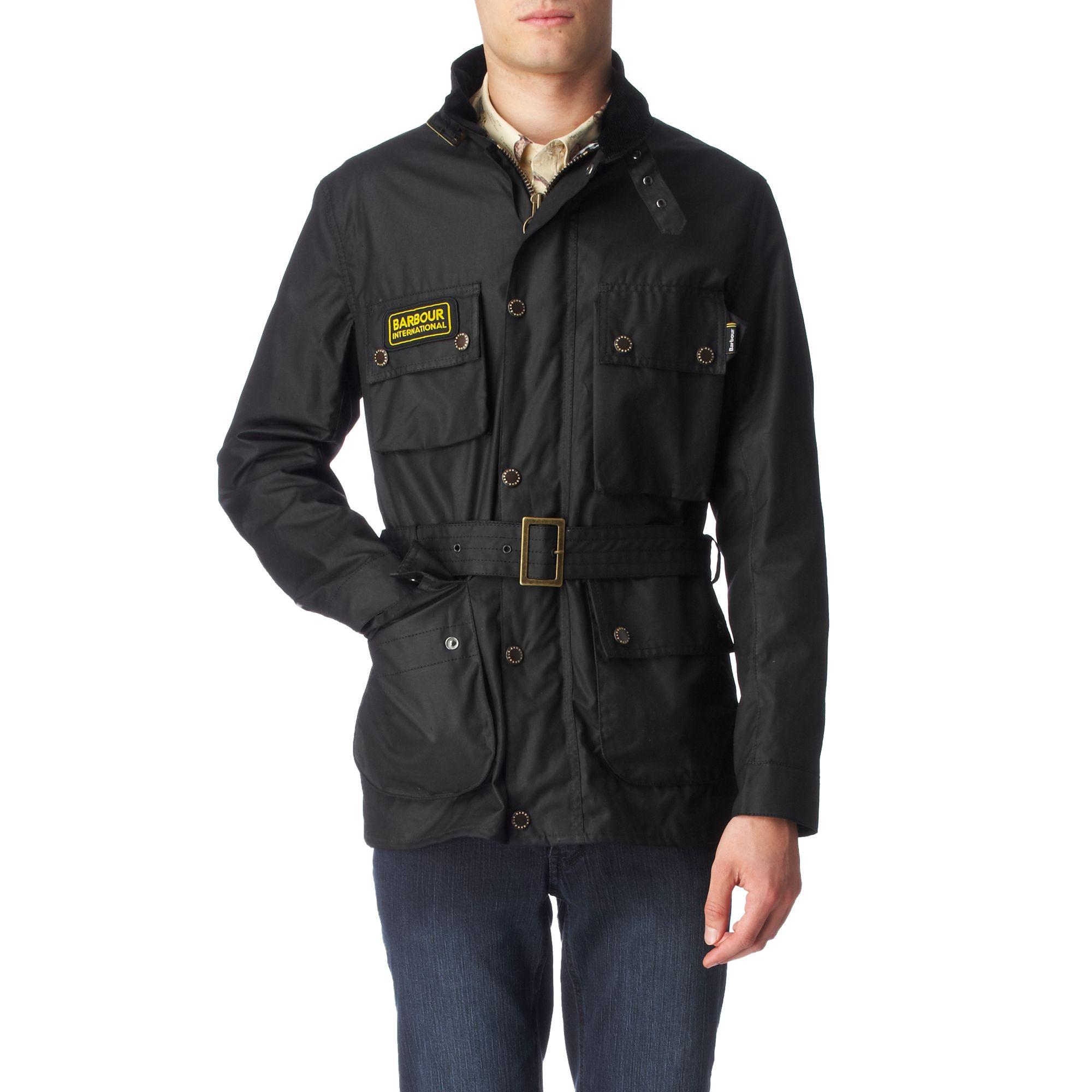 Barbour International Streak Waxed Jacket In Black For Men