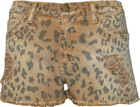 Current/elliott Boyfriend Leopard Print Shorts in Animal (leopard) - Lyst