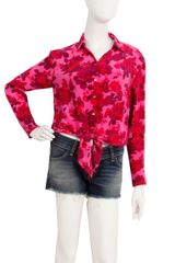 Equipment Daddy Tie Front In Floral Berry in Pink (floral) - Lyst