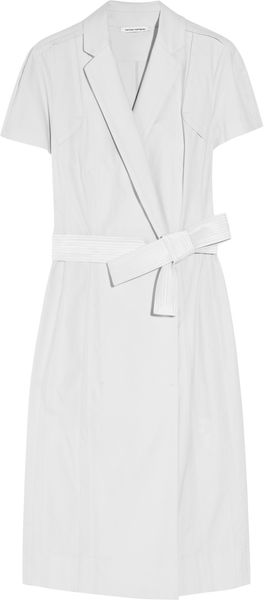 Narciso Rodriguez Stretch Cottonblend Wrap Dress in White - Lyst