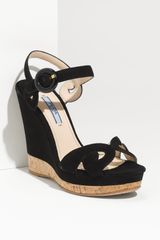 Prada Baroque Wedge Sandal - Lyst