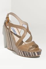 Prada Wood Bottom Wedge Sandal - Lyst