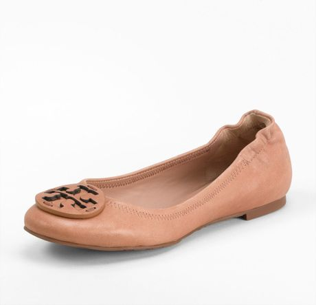 Tory Burch Leather Reva Ballet Flat in Brown (tan) - Lyst