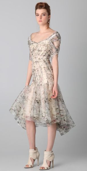 Zac Posen Print Bustier Dress in Beige