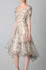 Zac Posen Print Bustier Dress in Beige - Lyst