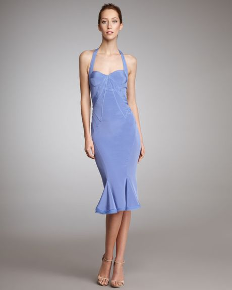 Zac Posen Silk Halter Dress in Purple - Lyst