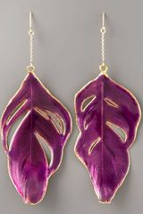 Aurelie Bidermann Enameled Swan-feather Earrings, Purple