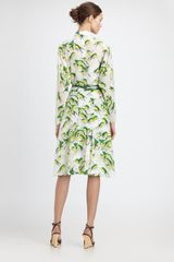 Carolina Herrera Sparrowprint Shirtdress in Green (yellow) - Lyst