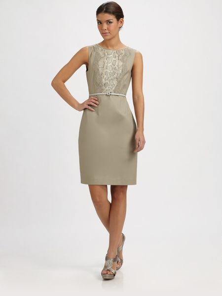 Elie Tahari Lolly Dress in Gray (grey) - Lyst