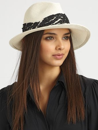 Eugenia Kim Lauren Zebra Striped Sequin Accented Straw Fedora - Lyst